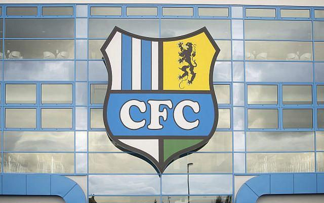 The logo of the Chemnitz FC soccer club at a stadium in Chemnitz, Germany. (Thomas Eisenhuth/ dpa via AP, File)