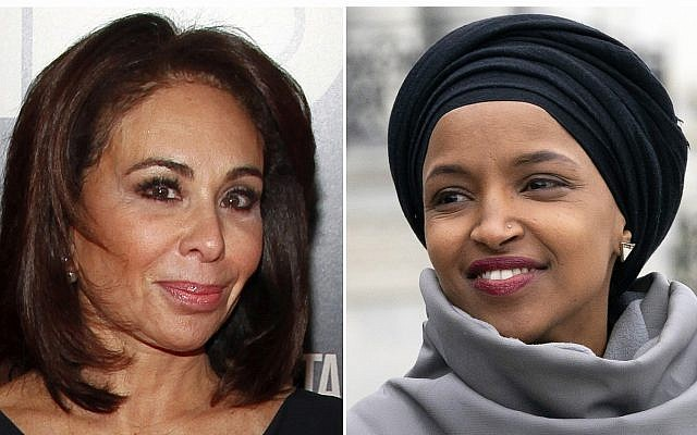 "This combination photo shows Fox News host Jeanine Pirro at the HBO Documentary Series premiere of ""THE JINX: The Life and Deaths of Robert Durst"" in New York on Jan. 28, 2015, left, and Rep. Ilhan Omar, D-Minn., at a rally outside the Capitol in Washington on March 8, 2019. (AP Photo)"