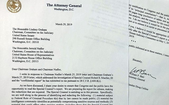 The letter Attorney General William Barr sent to Congress, on Friday, March 29, 2019, on the findings of the Mueller report is photographed in Washington. (AP Photo/Wayne Partlow)