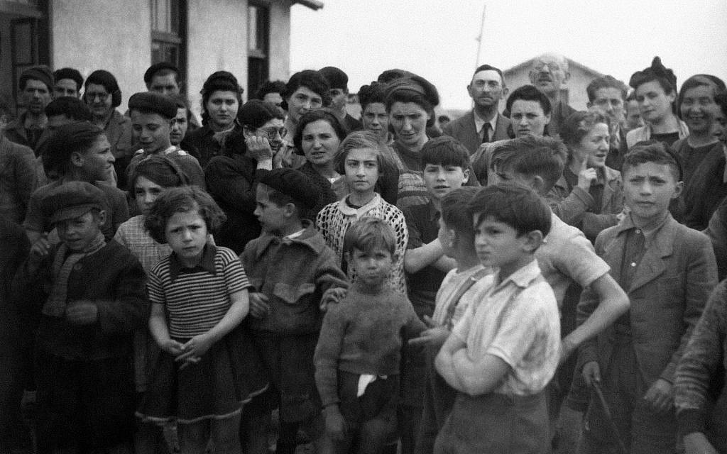 Group of internees at Rivesaltes camp in France in March 1941. (AP Photo/Vitchy)