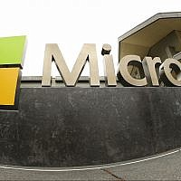 This photo from July 3, 2014, shows the Microsoft Corp. logo outside the Microsoft Visitor Center in Redmond, Washington. (AP Photo Ted S. Warren, File)