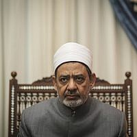 Ahmad Al-Tayeb, Grand Imam of Al-Azhar in his office, in Cairo, Egypt, in 2015. (AP Photo/Mosa'ab Elshamy)