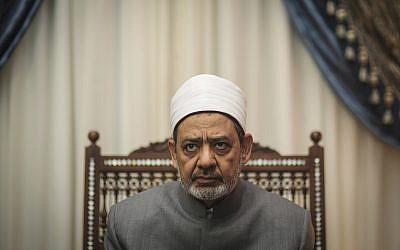 Ahmad Al-Tayeb, Grand Imam of Al-Azhar in his office, in Cairo, Egypt, in 2015. (AP Photo/Mosa'ab Elshamy)