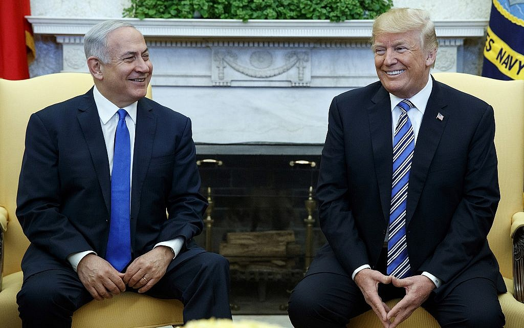US President Donald Trump (right) meets with Israeli Prime Minister Benjamin Netanyahu, in the Oval Office of the White House, March 5, 2018, in Washington. (AP/Evan Vucci)