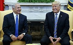 US President Donald Trump (right) meets with Israeli Prime Minister Benjamin Netanyahu in the Oval Office of the White House, March 5, 2018, in Washington. (AP/Evan Vucci)