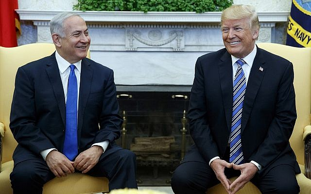 US President Donald Trump (right) meets with Prime Minister Benjamin Netanyahu, in the Oval Office of the White House, March 5, 2018, in Washington. (AP/Evan Vucci)