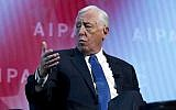 Steny Hoyer, D-Md., speaks at the 2018 American Israel Public Affairs Committee (AIPAC) policy conference, at Washington Convention Center, Monday, March 5, 2018, in Washington. (AP Photo/Jose Luis Magana)