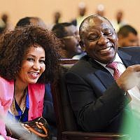 President Cyril Ramaphosa, right, of South Africa and the Minister of International Affairs, Lindiwe Sisulu, in Kigali, Rwanda Tuesday March 21, 2018 (AP Photo)