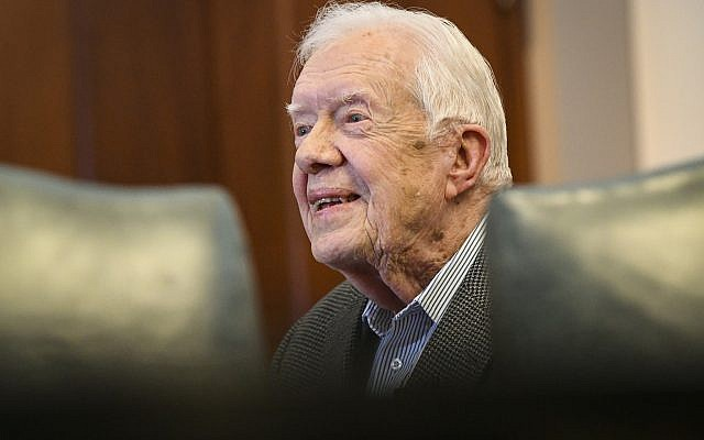 Former President Jimmy Carter pictured before a book signing Wednesday, April 11, 2018, in Atlanta. (AP/John Amis)