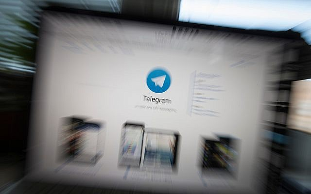 The website of the Telegram messaging app is seen on a computer screen in Moscow, Russia. (AP/Alexander Zemlianichenko)