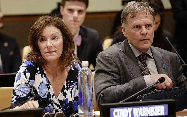 Fred Warmbier, right, and Cindy Warmbier, parents of Otto Warmbier, a Jewish American who died days after his release from captivity in North Korea, wait for a meeting on May 3, 2018, at the United Nations headquarters. (AP Photo/Frank Franklin II)