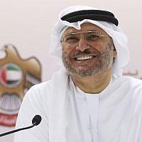 Emirati Minister of State for Foreign Affairs Anwar Gargash speaks to journalists in Dubai, United Arab Emirates, June 18, 2018. (AP Photo/Jon Gambrell)