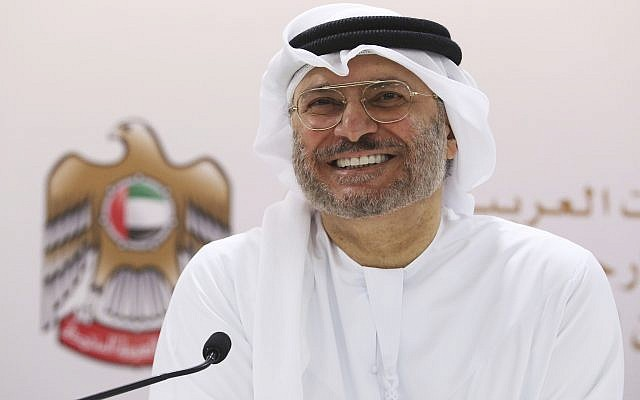 Emirati Minister of State for Foreign Affairs Anwar Gargash speaks to journalists in Dubai, United Arab Emirates, June 18, 2018. (AP Photo/Jon Gambrell)