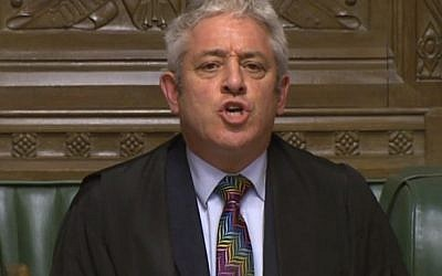 House of Commons Speaker John Bercow at the House of Commons, London, Juaryan. 15, 2019. (House of Commons/PA via AP)