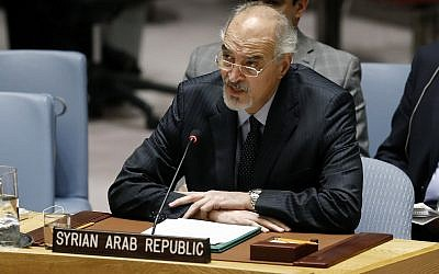 Syria's UN Ambassador Bashar Jaafari addresses the United Nations Security Council, at UN headquarters, Tuesday, January 22, 2019. (AP Photo/Richard Drew)