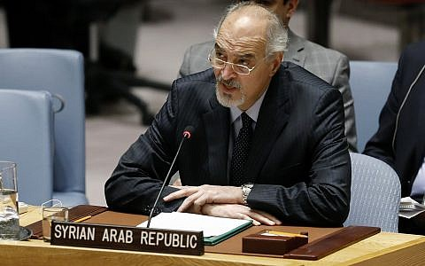 Syria's UN Ambassador Bashar Jaafari addresses the United Nations Security Council, at UN headquarters, Tuesday, Jan. 22, 2019. (AP Photo/Richard Drew)