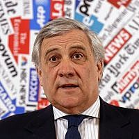 European Parliament President Antonio Tajani speaks during a news conference at the foreign press association in Rome, February 4, 2019. (AP Photo/Gregorio Borgia)