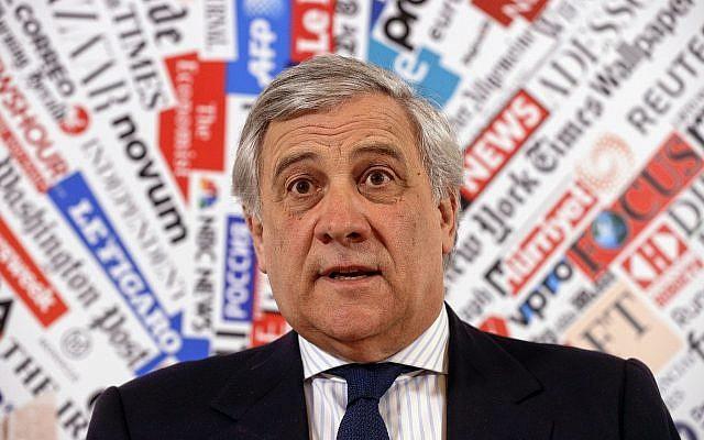 European Parliament President Antonio Tajani speaks during a news conference at the foreign press association in Rome, February 4, 2019. (AP Photo/Gregorio Borgia)