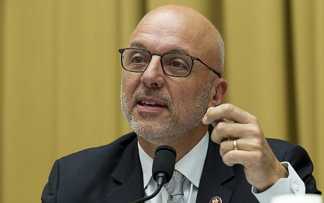 Democratic Representative Ted Deutch of Florida during a House Judiciary Committee hearing on gun violence, at Capitol Hill in Washington, February 6, 2019. (Jose Luis Magana/AP)