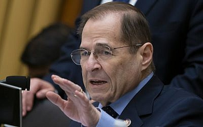House Judiciary Committee Chairman Jerrold Nadler (Democrat-New York) gestures during questioning of acting Attorney General Matthew Whitaker on Capitol Hill in Washington, DC, on February 8, 2019. (AP Photo/J. Scott Applewhite)