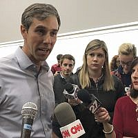 In this Feb. 15, 2019, file photo Beto O'Rourke tells reporters he plans to make a decision soon on whether to get in the race for president in Madison, Wisconsin. (AP Photo/Scott Bauer)