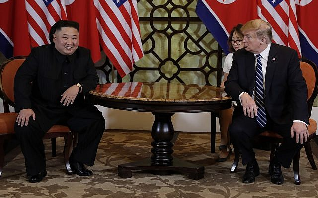 President Donald Trump meets North Korean leader Kim Jong Un, Thursday, Feb. 28, 2019, in Hanoi. (AP/Evan Vucci)