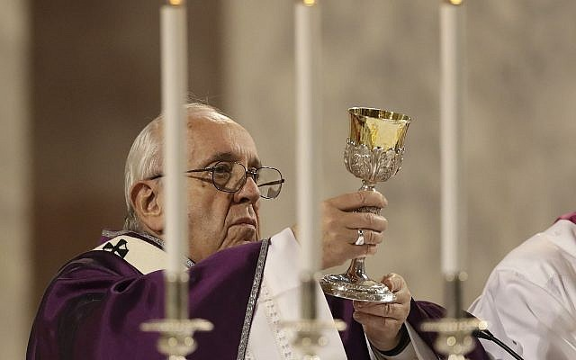 Pope Francis celebrates Mass at the Basilica of Saint Sabina in Rome Wednesday, March 6, 2019.  (AP Photo/Andrew Medichini)