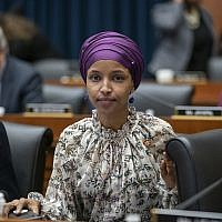 Rep. Ilhan Omar, Democrat-Minnesota, sits with fellow Democrats on the House Education and Labor Committee during a bill markup, on Capitol Hill in Washington, March 6, 2019. (J. Scott Applewhite/AP)