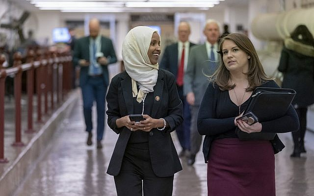 Rep. Ilhan Omar, D-Minn., walks to the chamber Thursday, March 7, 2019, on Capitol Hill in Washington. (AP/J. Scott Applewhite)
