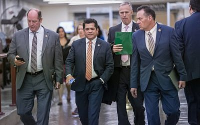 Members of the House walk to the chamber for a vote on an anti-hate resolution at the Capitol in Washington, Thursday, March 7, 2019. (AP/J. Scott Applewhite)