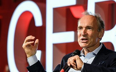 Computer scientist Tim Berners-Lee, best known as the inventor of the World Wide Web, delivers a speech during an event at the CERN in Meyrin near Geneva, Switzerland, March 12, 2019 (Fabrice Coffrini/Pool, Keystone via AP)