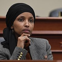 Rep. Ilhan Omar, Democrat-Minnesota, in the House Budget Committee on Capitol Hill in Washington, March 12, 2019. (Susan Walsh/AP)