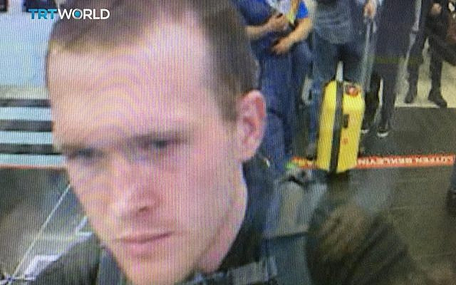 This image taken from CCTV video obtained by the state-run Turkish broadcaster TRT World and made available on March 16, 2019, shows the arrival of who it says is Brenton Tarrant, the suspect in the New Zealand mosque attacks, in Istanbul's Ataturk International airport in Turkey on March 2016. (TRT World via AP)