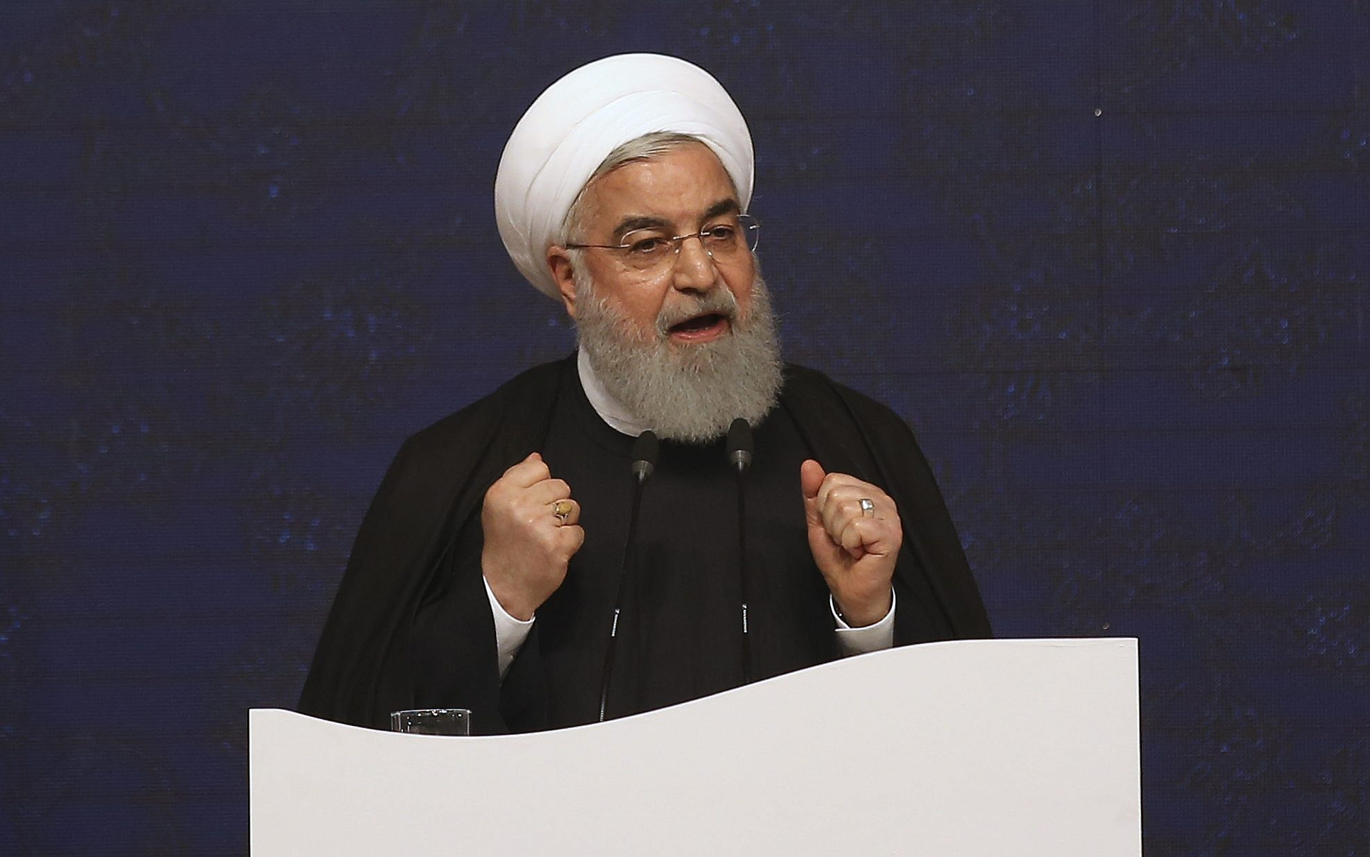 'Put all your curses' on US, Rouhani urges Iranians