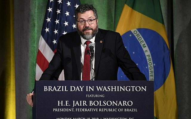 Brazil's Foreign Minister Ernesto Araujo speaks at the Chamber of Commerce in Washington, March 18, 2019. (Susan Walsh/AP)