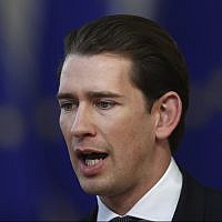 Austrian Chancellor Sebastian Kurz speaks with the media as he arrives for an EU summit in Brussels, Thursday, March 21, 2019. (AP/Francisco Seco)