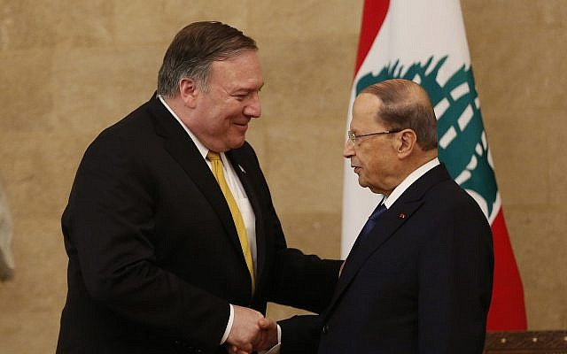 US Secretary of State Mike Pompeo, left, shakes hands with Lebanese President Michel Aoun, right, at the presidential palace, in Baabda east of Beirut, Lebanon, Friday, March 22, 2019 (AP Photo/Hussein Malla)