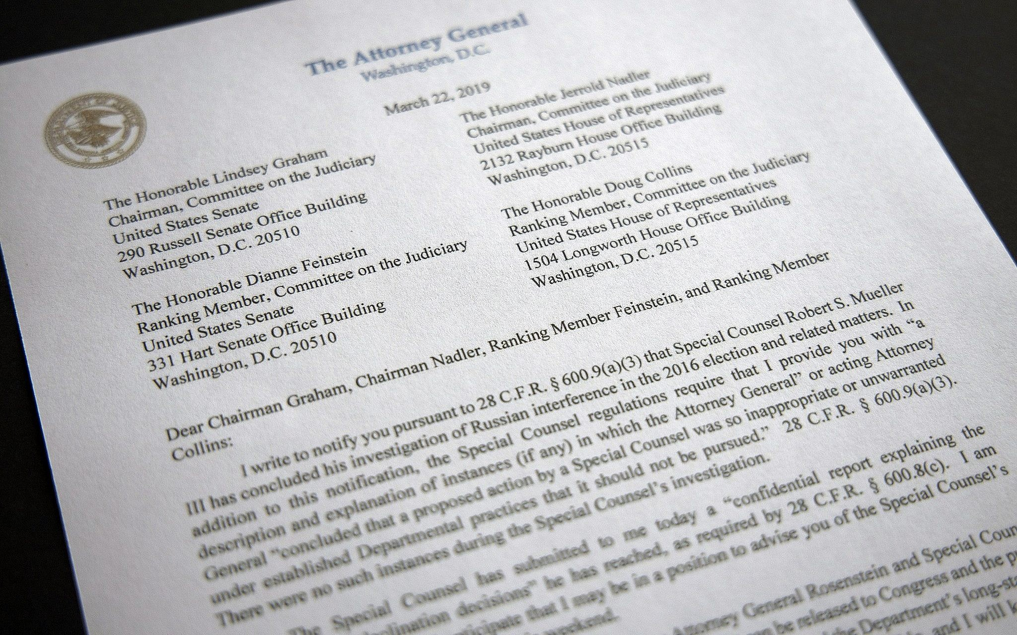 In a plain envelope, a monumental message: Mueller's done   The
