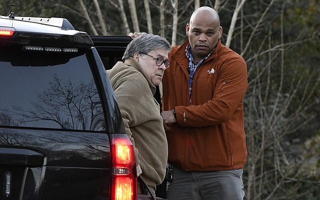 Attorney General William Barr arrives at his home in McLean, Va., on Saturday evening, March 23, 2019 (AP Photo/Sait Serkan Gurbuz)