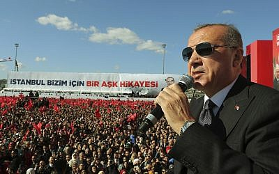 Turkey's President Recep Tayyip Erdogan addresses an election rally in Istanbul, March 24, 2019. (Presidential Press Service via AP, Pool)