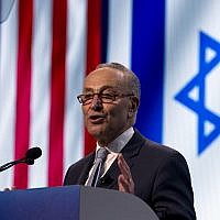 Senate Minority Leader Chuck Schumer, D-NY, speaks at the 2019 American Israel Public Affairs Committee (AIPAC) policy conference, at Washington Convention Center, in Washington, Monday, March 25, 2019. (AP Photo/Jose Luis Magana)