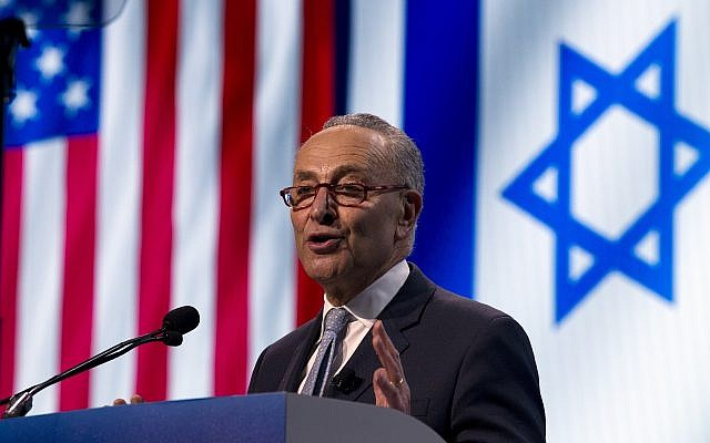 Illustrative: Senate Minority Leader Chuck Schumer, Democrat of New York, speaks at the 2019 American Israel Public Affairs Committee (AIPAC) policy conference, at Washington Convention Center, in Washington, March 25, 2019. (AP Photo/Jose Luis Magana)