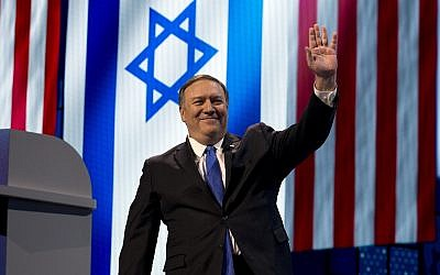 US Secretary of State Mike Pompeo waves as he speaks at the 2019 American Israel Public Affairs Committee (AIPAC) policy conference, at Washington Convention Center, in Washington, Monday, March 25, 2019 (AP Photo/Jose Luis Magana)