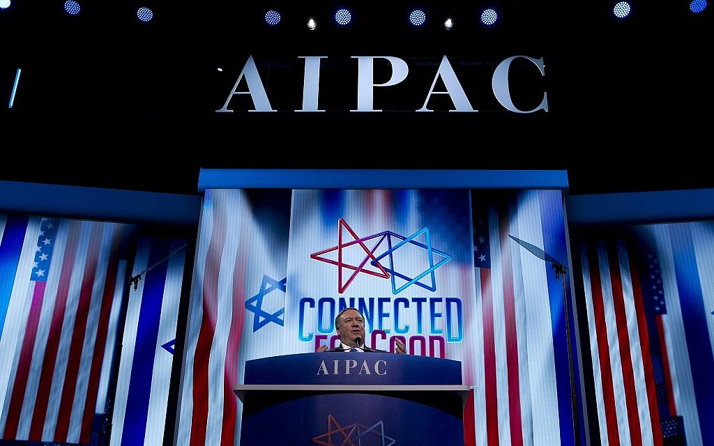 US Secretary of State Mike Pompeo speaks at the 2019 American Israel Public Affairs Committee (AIPAC) policy conference, at Washington Convention Center, in Washington, March 25, 2019. (Jose Luis Magana/AP)