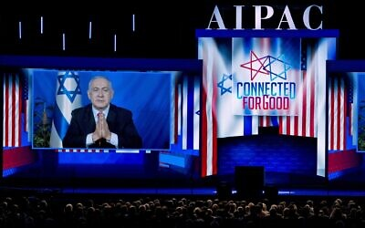 Illustrative: Prime Minister Benjamin Netanyahu speaks on a video from Israel to the 2019 American Israel Public Affairs Committee (AIPAC) policy conference, at Washington Convention Center, in Washington, DC, March 26, 2019. (AP Photo/Jose Luis Magana)