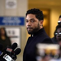 Actor Jussie Smollett talks to the media before leaving Cook County Court after his charges were dropped, March 26, 2019, in Chicago. (AP Photo/Paul Beaty)