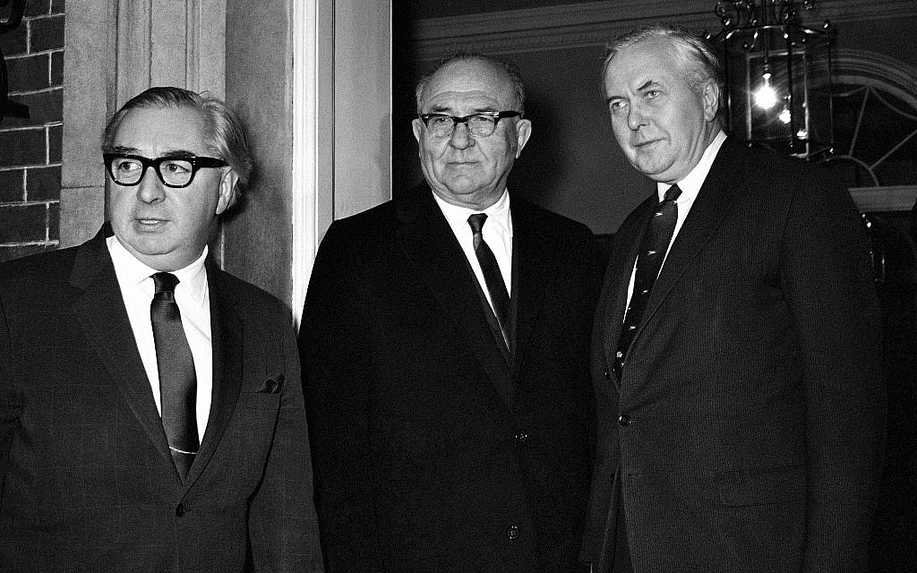 Israel's prime minister Levi Eshkol, center, with British foreign secretary George Brown, left, and British prime minister Harold Wilson, at No. 10, Downing Street, London, January 17, 1968. (AP Photo/Str/Tewkesbury)