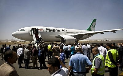 A Mahan Air jet seen in Sanaa, Yemen, on March 1, 2015. (AP Photo/Hani Mohammed, File)
