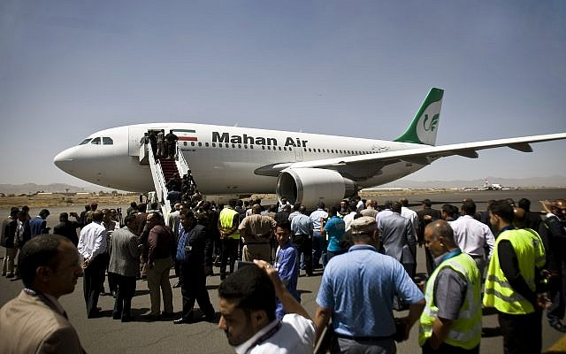 A Mahan Air jet seen in Sanaa, Yemen, on March 1, 2015. (AP Photo/Hani Mohammed, File)