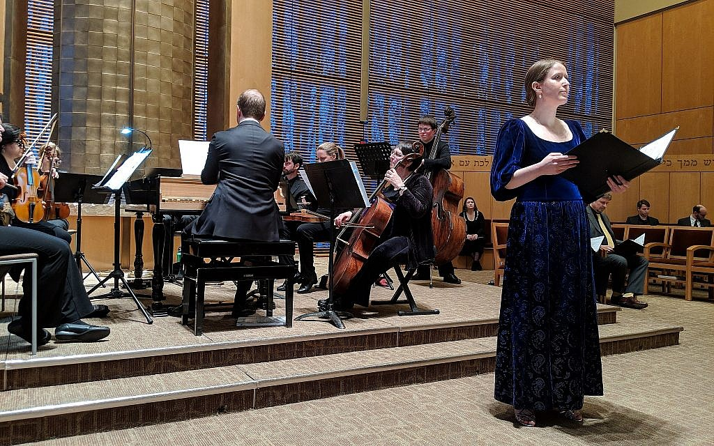 Alicia DePaolo, soprano, as the lead role in Cristiano Guiseppe Lidarti's 'Esther,' at the Sunday, March 3 performance at Temple Beth Elohim in Wellesley, Massachusetts. (Alyssa Scheiner/courtesy Miryam Ensemble)